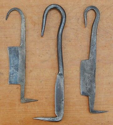 Set of 3 Antique Hand Forged Wrought Iron Grafting Froes Clean All Good Display