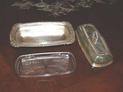 Footed Silver on Copper Butter Dish w Glass Insert Rope Pattern Table Accessory