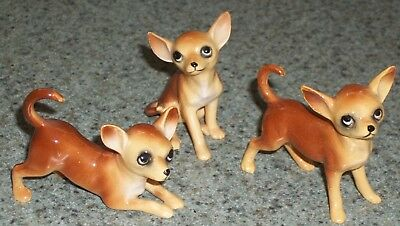 3 Vintage Miniature Bone China Chihuahua Dogs Made in Japan Labels