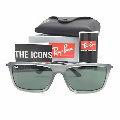 a2426c35237 New Ray-Ban RB4214 9296 71 Squared Matte Black Sunglasses W  Green Lens