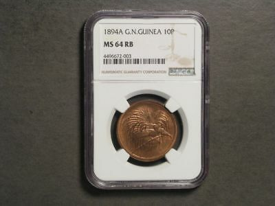 GERMAN NEW GUINEA 1894A 10 Pfennig NGC Slabbed MS-64 RB