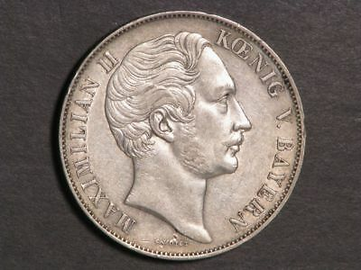 GERMANY-BAVARIA 1850 2 Gulden Silver Crown XF+