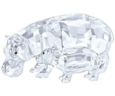 Swarovski Crystal Hippo Mother and Baby Collectible figurine, NEW in Box