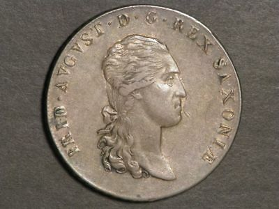 GERMANY-SAXONY 1813 IGS 1 Thaler Silver Crown XF