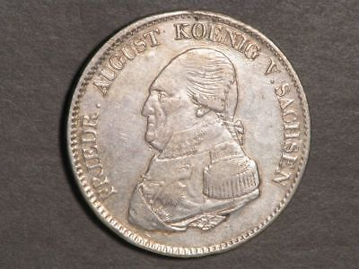 GERMANY-SAXONY 1822 IGS 1 Thaler Silver Crown XF