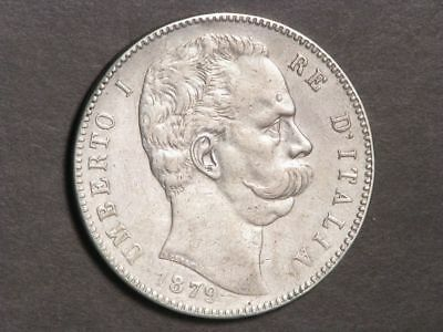 ITALY 1879R 5 Lire Umberto Silver Crown VF-XF