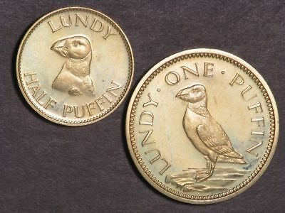 LUNDY ISLAND 1965 1/2-1 Puffin Brass Proof - Mtg=3000