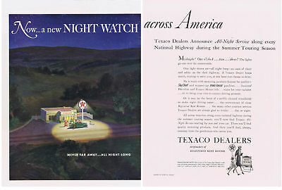1940 TEXACO All Night Service Across America Print Ad 2 pages