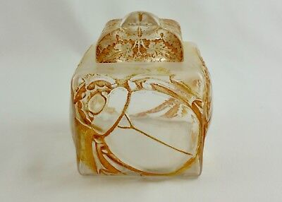 Superb Antique French Glass Perfume Bottle Or Inkwell-Lalique Style-Scarabs