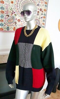 Vtg Rare NAUTICA Hip Hop PATCHWORK Multi Color YACHTY Crewneck SWEATER L WoW!!