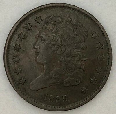 Raw 1835  1/2C in AU Nice Coin! Early US Copper Half Cent  ma5