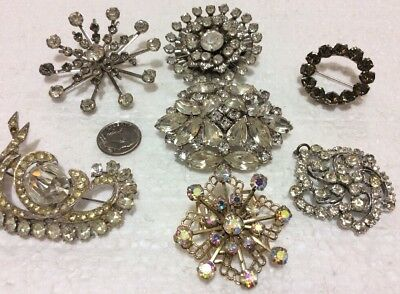 Vintage/ Estate Jewelry Lot Of 7 Clear Rhinestone Brooches For Repair