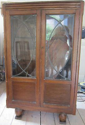 1930s Solid Wood Book Case Leaded Glass Doors Retro Vintage Storage Antique