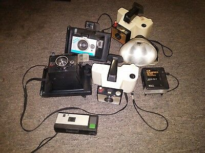 Lot of Vintage Polaroid and Kodak Cameras & Accessories - 7 Items