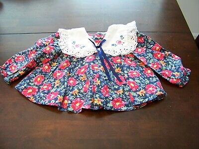 Vtg Rare BABY Girl FLORAL Bib SMOCK Eyelet BOW Frilly TOP 18M WoW!!