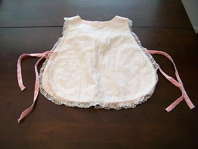 Vtg Rare BABY Girl Bib SMOCK Eyelet BOW Frilly APRON Lace Trim Top 12-18M