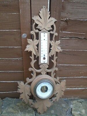 Pretty Antique/vintage Black Forest Style Carved Wood French Barometer