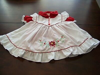 VTG Baby GIRL Apron LACE Calico PLAID Pinafore FRILLY Floral DRESS 18M