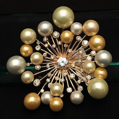 New Joia de Majorca Pearl & CZ Starburst Pin 18Kt Gold Filled Sterling Silver