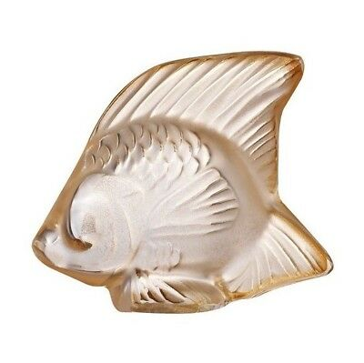Factory New Lalique France Fish Sculpture in 'Gold Lustre' w/ Box