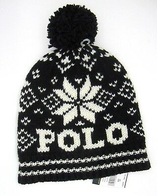 f0091e7f653 Polo Ralph Lauren Hat Black Wool Cable Knit Beanie with
