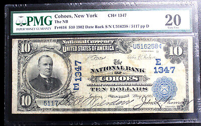 1902 $10 Cohoes, New York National Currency CH #1347 PMG 20 VERY FINE DATE BACK