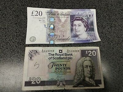 2 circulated England, Scotland 20 pound banknotes