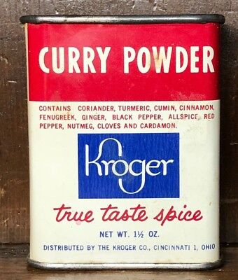 Curry Powder Vintage Tin Antique Metal Kroger Brand Remove-able Top Full/Mostly