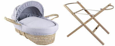 New Clair de Lune Grey Waffle Palm Baby Carry Moses Basket Bed + Folding Stand