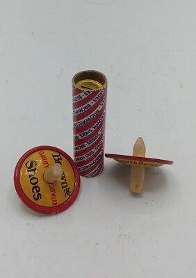 VINTAGE BUSTER BROWN SHOES SHOE STORE PREMIUM HORN WHISTLE & 2 Tin Spinning Tops