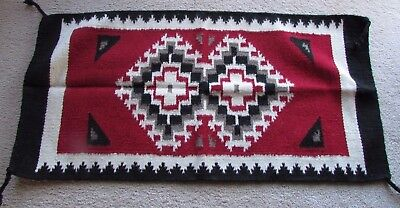 """Southwest Navajo Wool Indian Designed 20 """"by 38 1/2"""""""" Chief's Blanket Style Rug"""