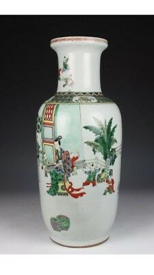 A Large Chinese Qing Dynasty Famille Rose Porcelain Figure Vase.