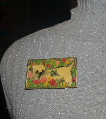 Large Signed P Ellison Painting Pin West Highland Terrier with Butterfly