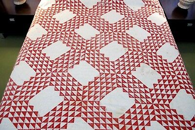 """IN VERY BAD CONDITION: Antique Turkey Red & White OCEAN WAVES QUILT, 86"""" x 68"""""""