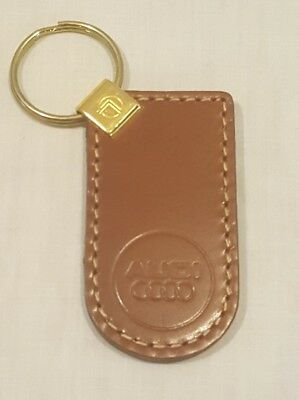 Vintage Brown Genuine Leather AUDI Keychain Key Chain - New/Old Stock