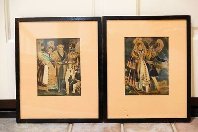 Antique (?) Pair of Victorian Style Art Pieces Framed - Ready to Hang Very Nice