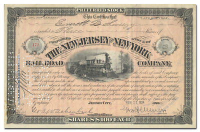 New Jersey and New York Railroad Company Stock Certificate