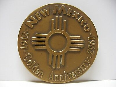 "1962 NEW MEXICO Golden Anniversary 2.5"" Bronze Medal - Medallic Art Co"