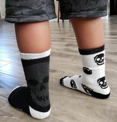 New CONVERSE boys, girls skull socks 5Y-7Y 2 PAIR black white kids ALL STAR crew