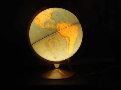 "Replogle 12"" World Premier Series Illuminated Globe in relief, metal axis & base"