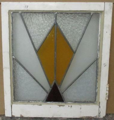 "OLD ENGLISH LEADED STAINED GLASS WINDOW Pretty Geometric Burst 20"" x 22"""