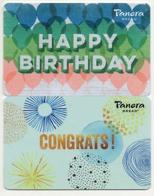 THE 2 NEWEST PANERA Gift Cards no value (JUST RELEASED) happy birthday, congrats