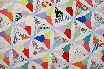 SMALL Vintage Hand Set Feed Sack CHAINED STAR Quilt TOP w/ Feed Sack Backing