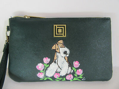 HAND PAINTED ART~~WIRE FOX Terrier SMARTPHONE CHARGING WALLET PURSE~~SUPER CUTE!