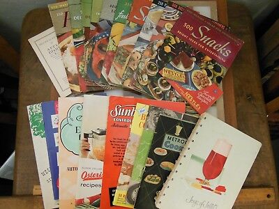 Vintage Lot 21 Recipe Booklets Pamphlets 1940-1960 Jell-O Pillsbury Cooking MCM