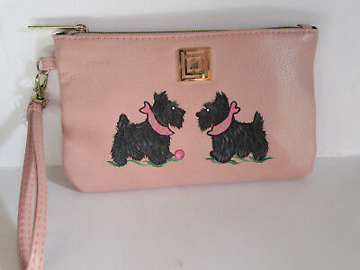 HAND PAINTED ART~~2 SCOTTIE Terriers SMARTPHONE CHARGING WALLET PURSE~SUPER CUTE
