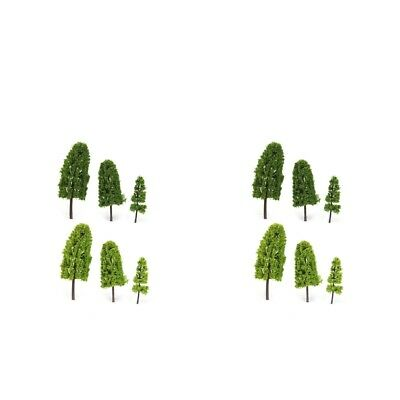 40x Miniature Plastic Green Model Tree HO Z Scale for Diorama Architecture