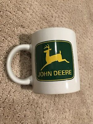 New John Deere Coffee Mug Cup Licensed Product White Farm Tractor