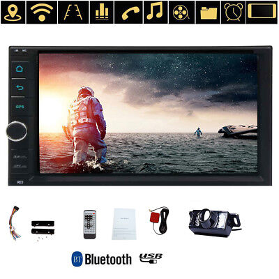 """7"""" 2DIN 4 Core Android 6.0 4G WIFI Car Radio Stereo MP5 Player GPS 16GB + Camera"""