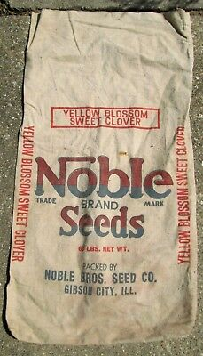 VTG. NOBLE BRAND SEEDS CANVAS Sweet Clover BAG 60 LBS. NET WT.  GIBSON CITY ILL.